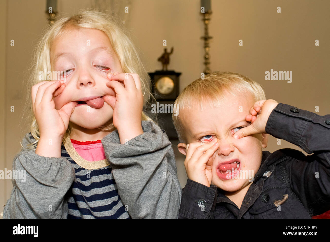 Brother And Sister Pulling A Funny Face Stock Photo 49691263 Alamy