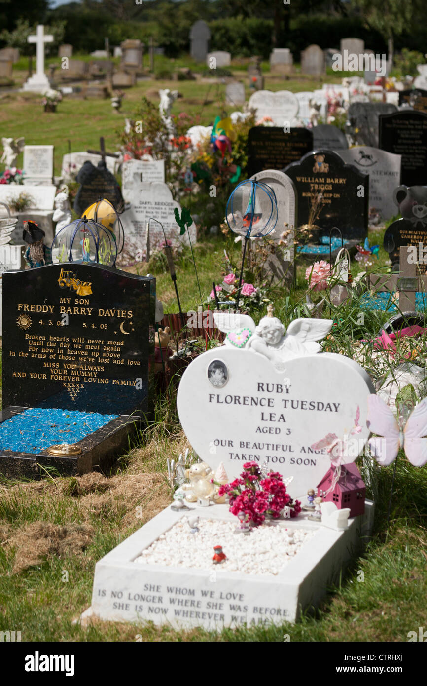 area of Warblington Church graveyard reserved for the graves of children - Stock Image
