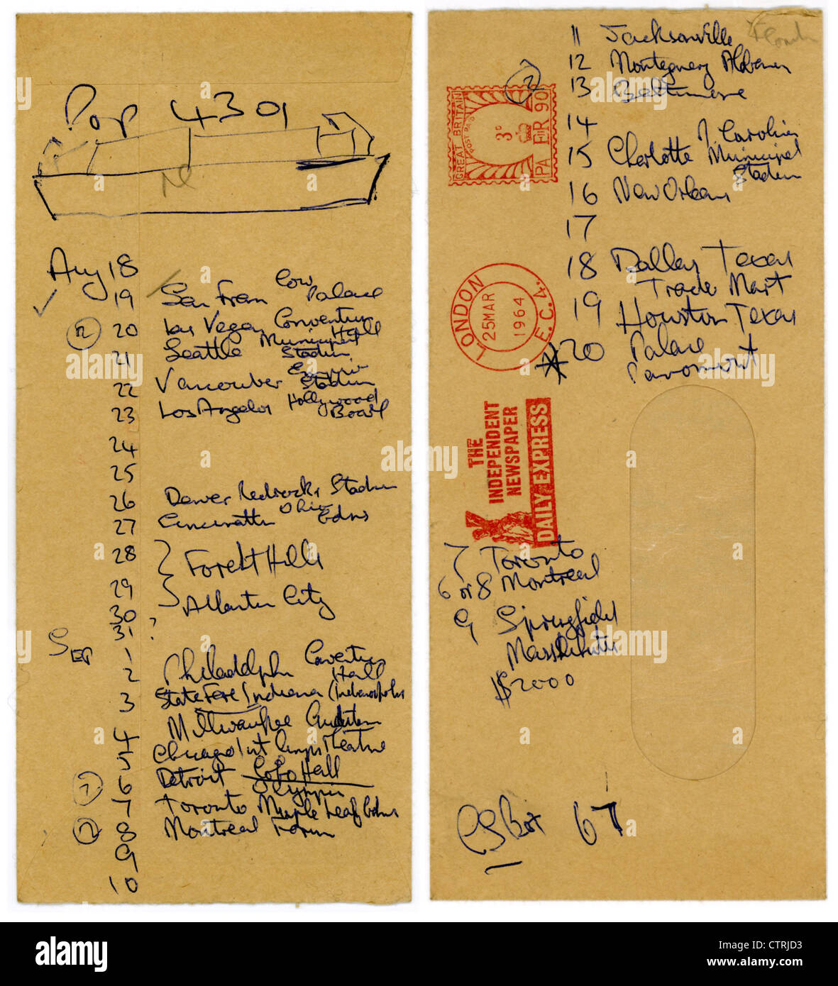 001015 - Brian Epstein's Handwritten Beatles Itinerary for August and September 1964 - Stock Image