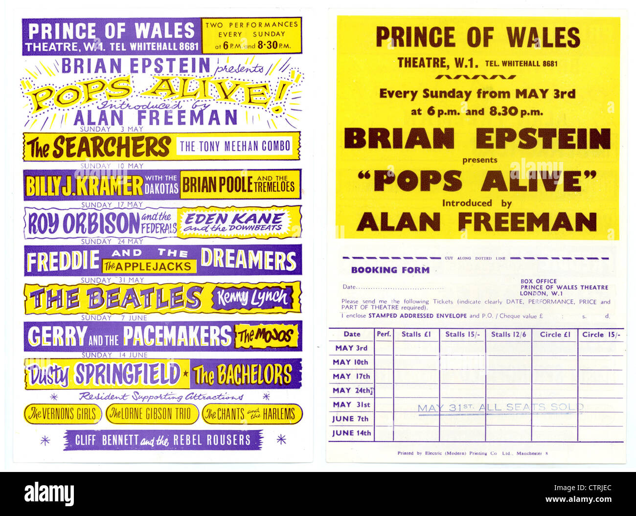 001011 - The Beatles Pops Alive Handbill from the Prince Of Wales Theatre, London on 31st May 1964 - Stock Image