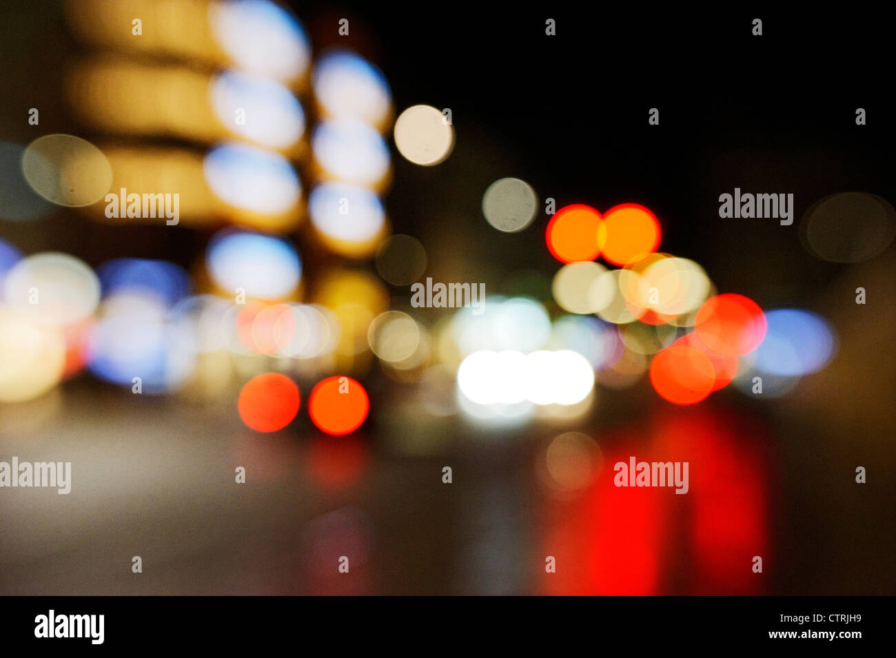 Lights, lamps, creative focus, rear lights, Jungfernstieg, Hamburg, Germany, Europe - Stock Image