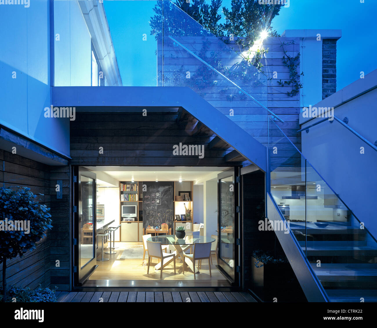 Penthouse Apartment Exterior To Dining Room And Exterior Stairs Stock Photo Alamy