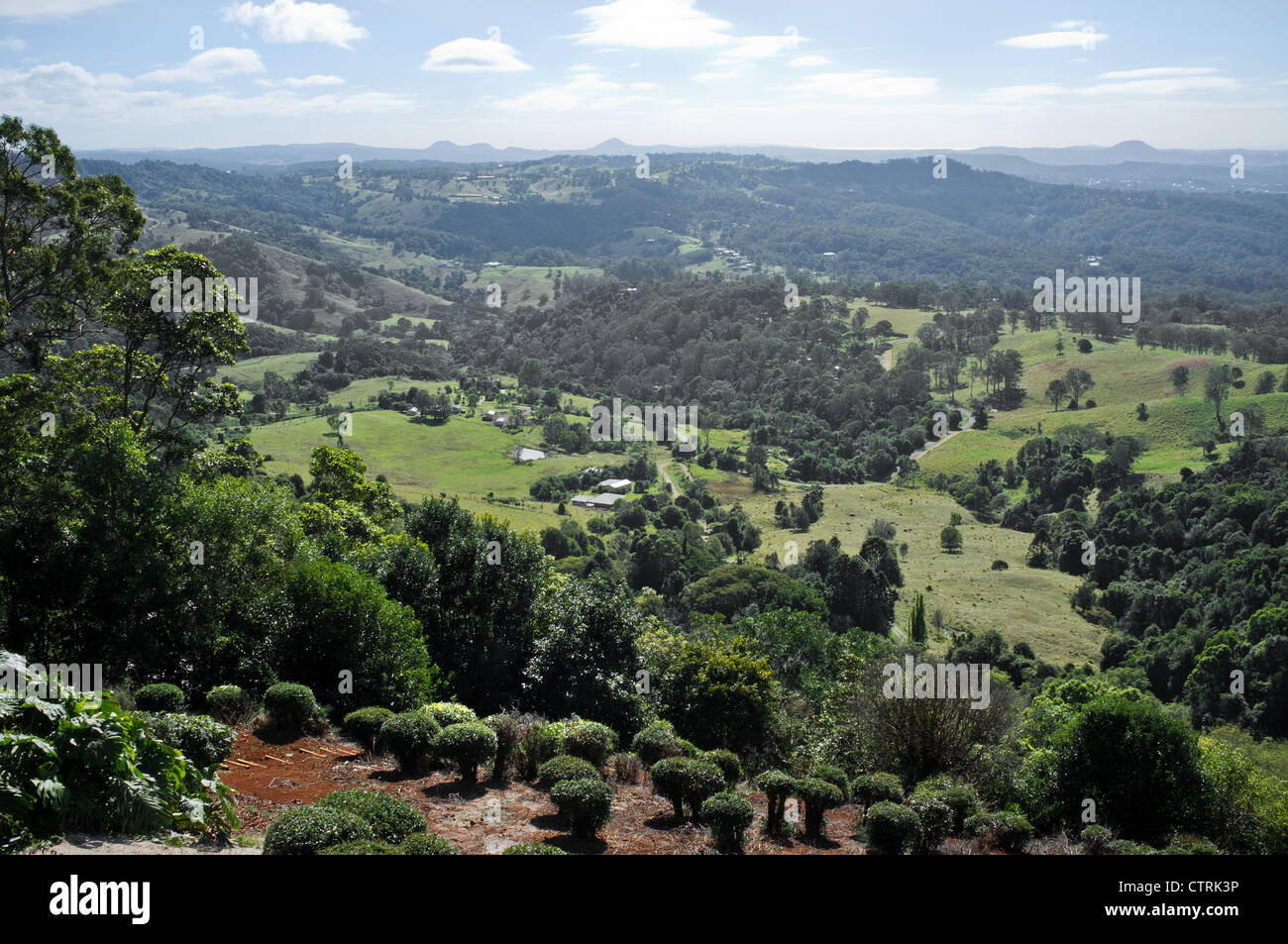 Montville Queensland - The view over the hinterland from the top of Montville in Queensland, Australia. - Stock Image