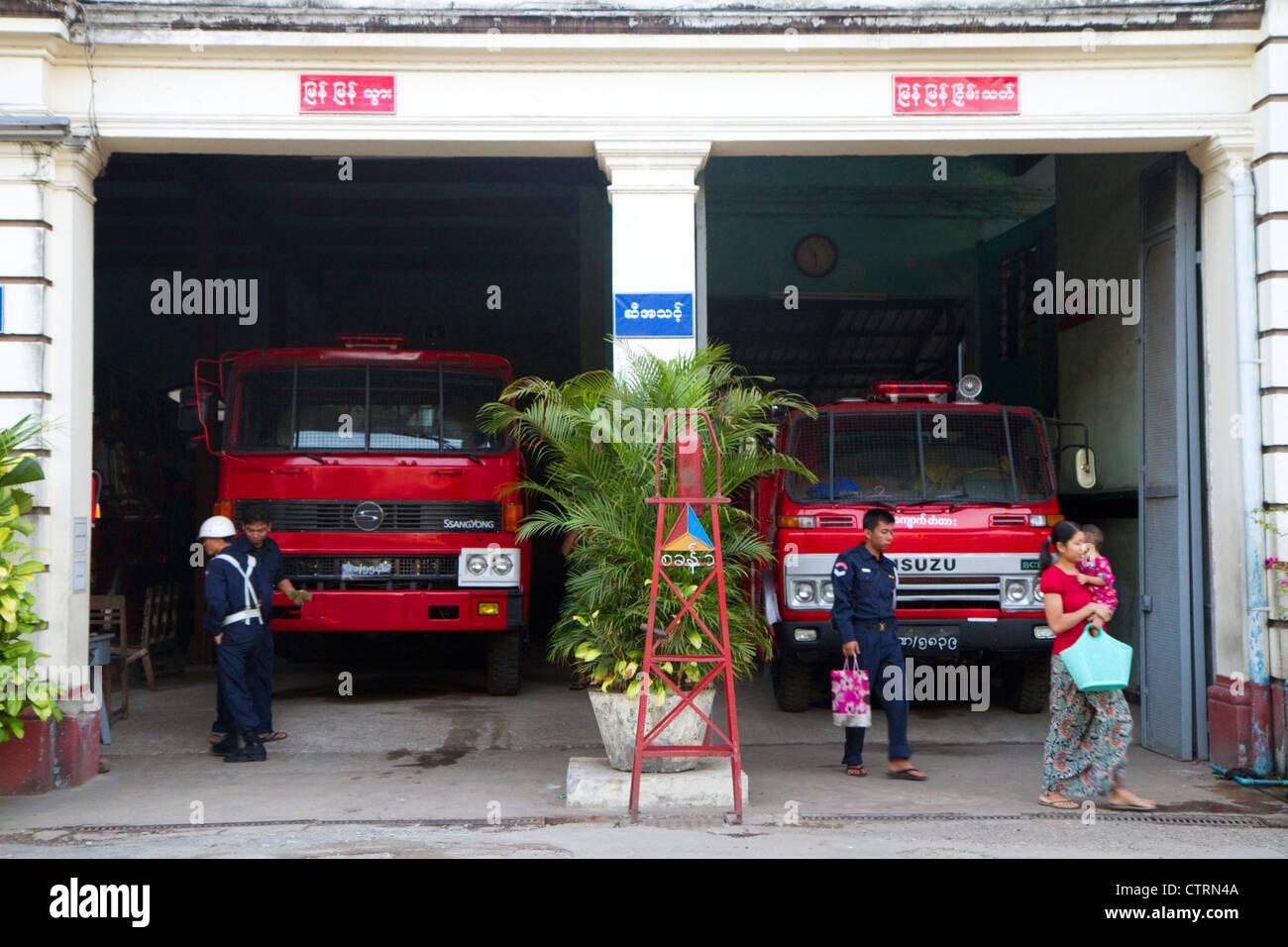 Fire station in (Rangoon) Yangon, (Burma) Myanmar. - Stock Image