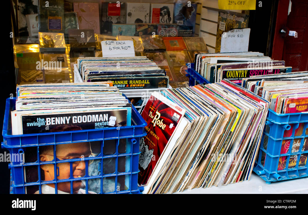 Used 33 1/3 LP (long play) records for sale in a store in Greenwich Village, New York City - Stock Image