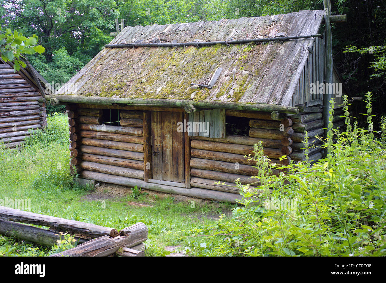 Wooden hut reconstruction Bedkowice ancient Slavic dwelling Lower Silesia Poland - Stock Image