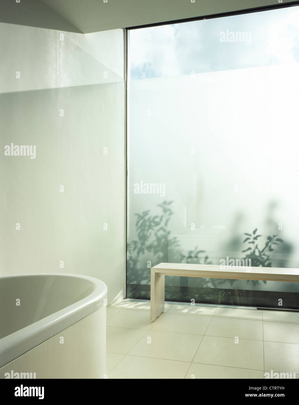 private house bathroom with bath, sand blasted glass and wooden ...
