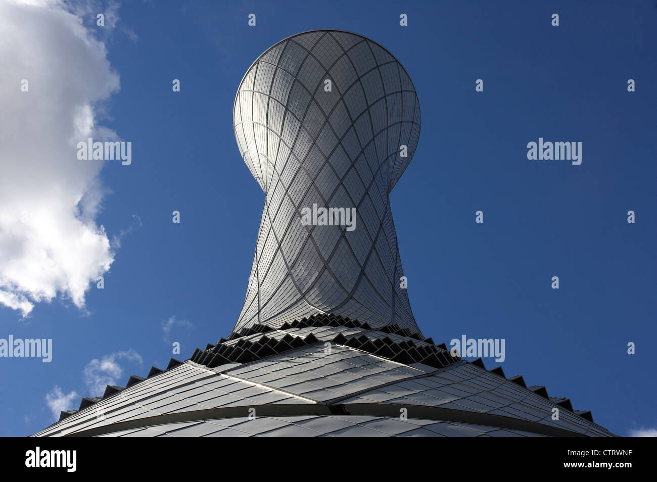 air traffic control tower triangular vents viewed from base - Stock Image