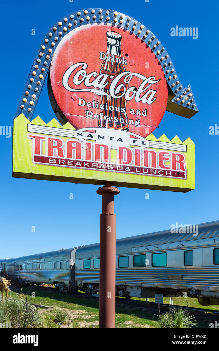 Santa Fe Train Diner outhside the '1880 Town' western attraction in Murdo, South Dakota, USA - Stock Image
