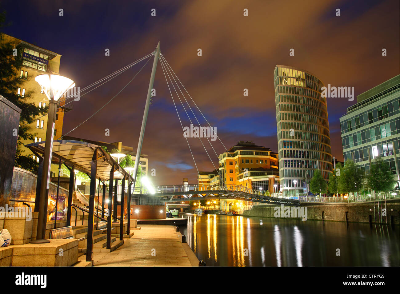 The Eye, Temple Quay at dusk. Bristol, July 2012. - Stock Image