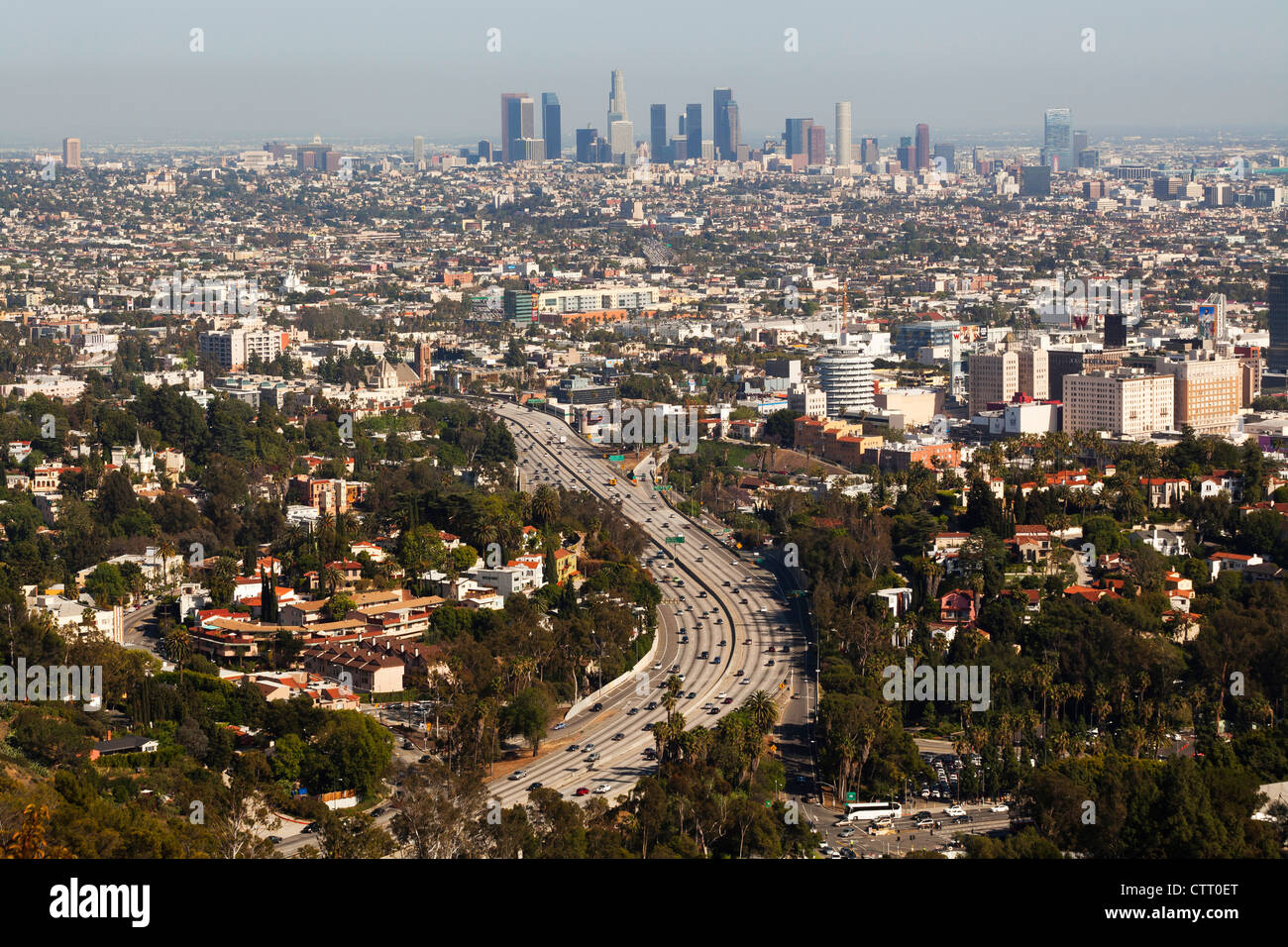 Hollywood Freeway and downtown LA - Stock Image