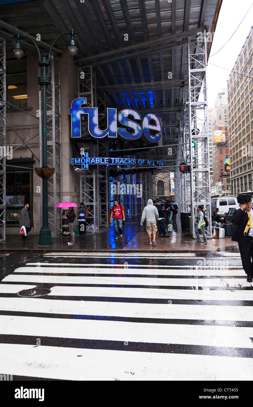 Blue lights from Fuse on 7th Avenue music-television network, based in New York City, Manhattan - Stock Image