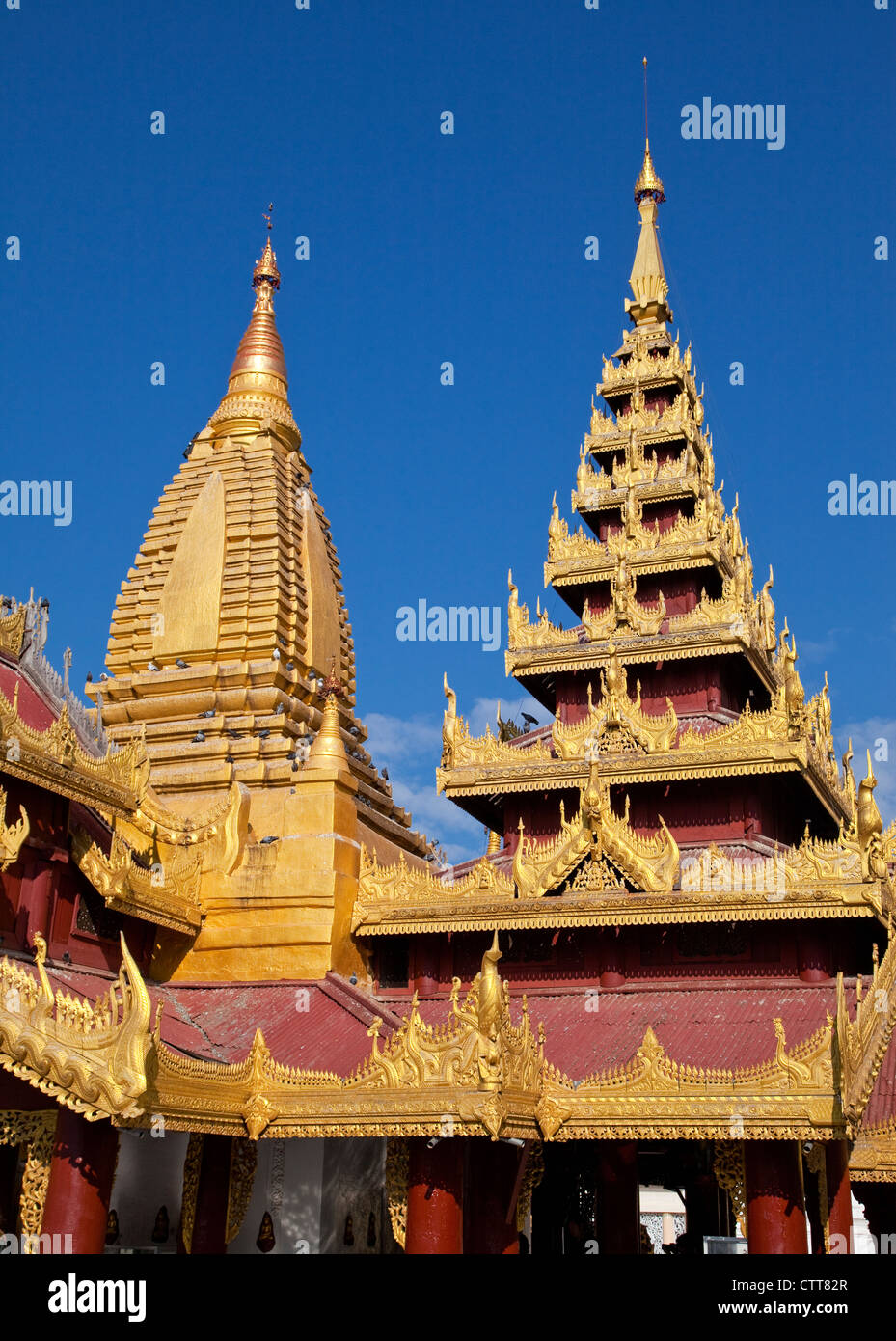 Myanmar, Burma, Shwezegon (Shwezigon) Pagoda, near Bagan. Stock Photo