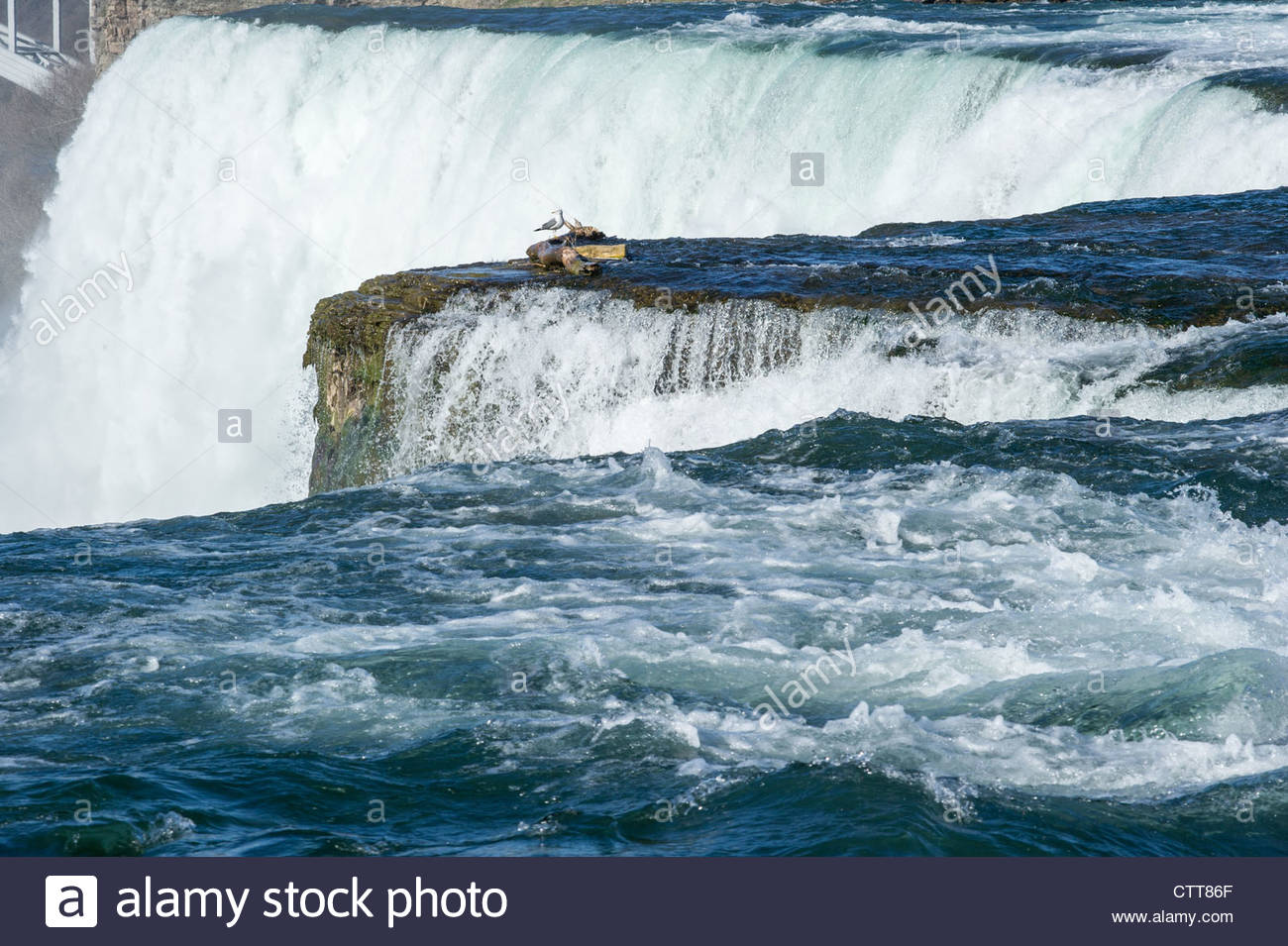 Niagara Falls From The New York Side Sunny Day Stock Photo