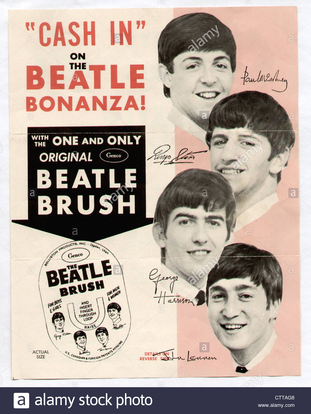 000920 - The Beatles 1964 Genco Brush Flyer - Stock Image