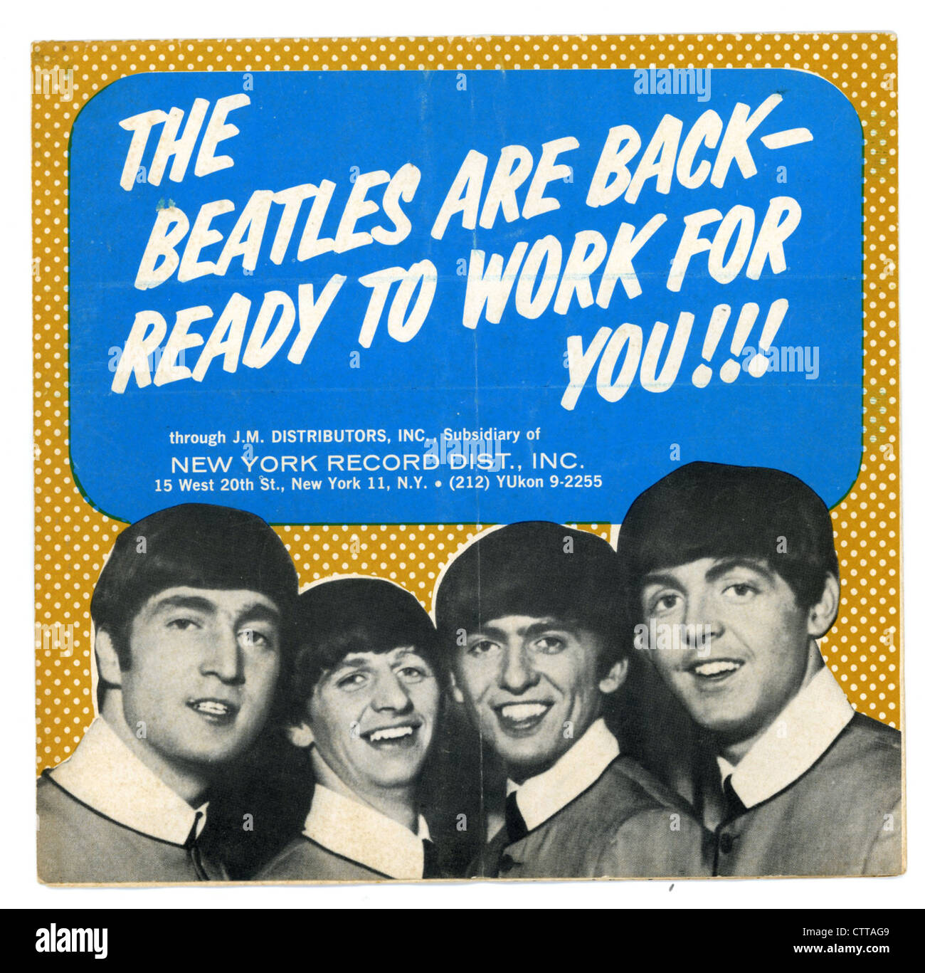 000919 - The Beatles JM Distributors 1964 Flyer - Stock Image