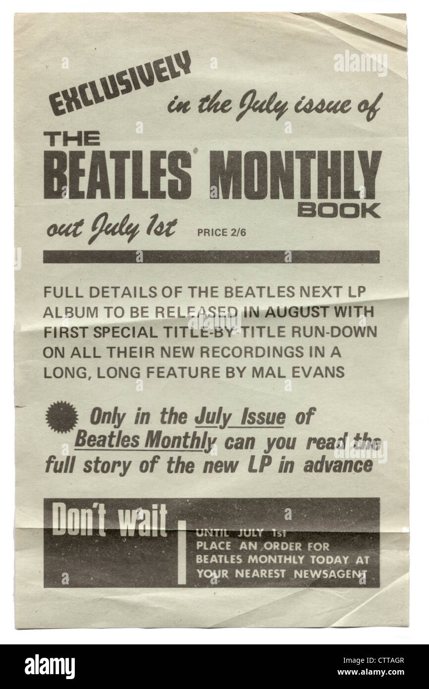 000931 the beatles monthly book 1964 promotional flyer stock photo