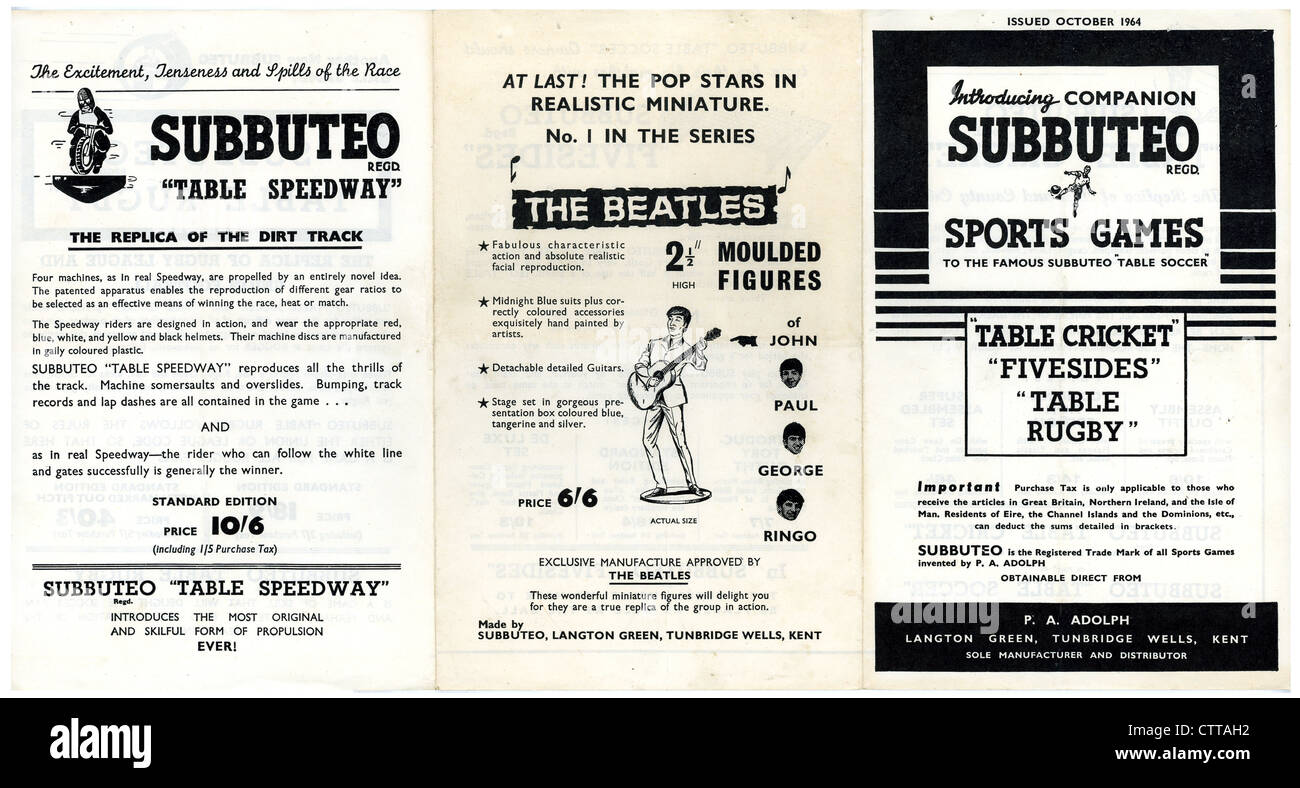 000935 - The Beatles 1964 Subbuteo Promotional Flyer - Stock Image