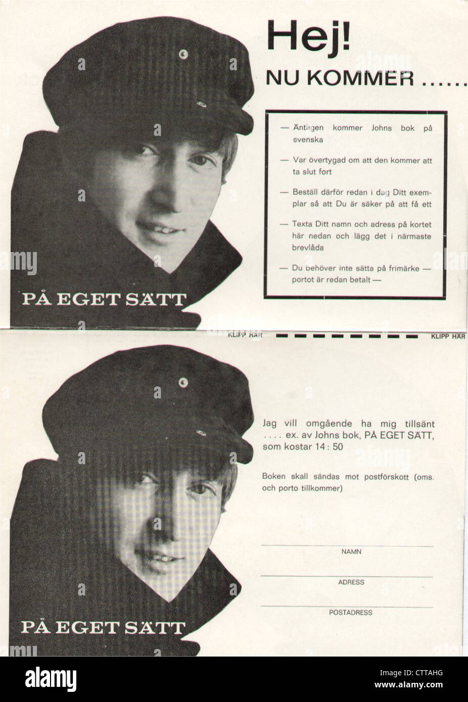 000948 - John Lennon In His Own Write 1964 Swedish Promotional Card - Stock Image