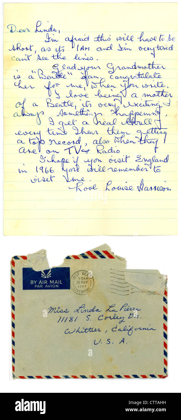000943 - Letter to a Beatles fan from George Harrison's mother Louise from 26th May 1964 - Stock Image