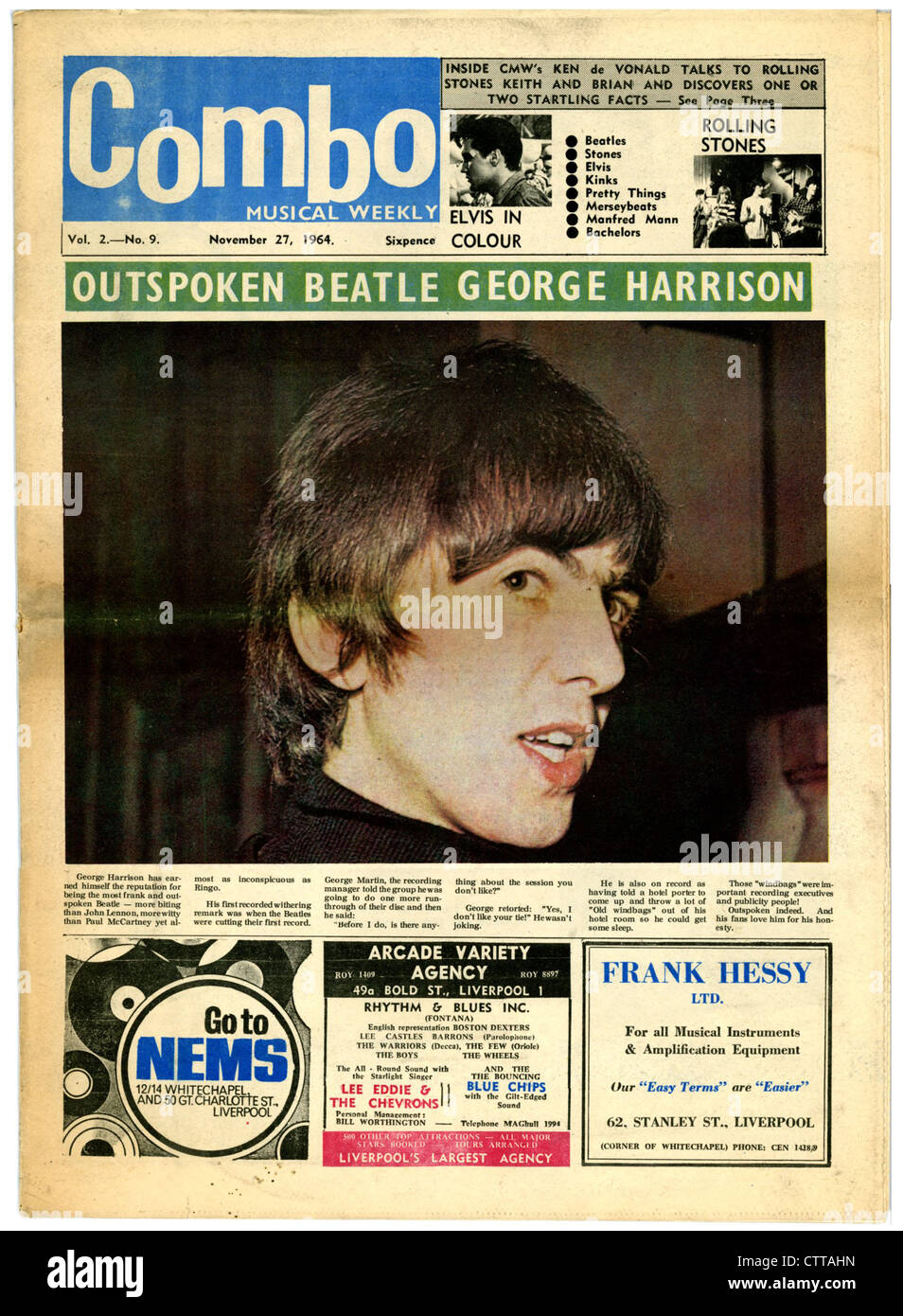 000944 - Combo Music Newspaper with George Harrison on the cover from 27th November 1964 - Stock Image