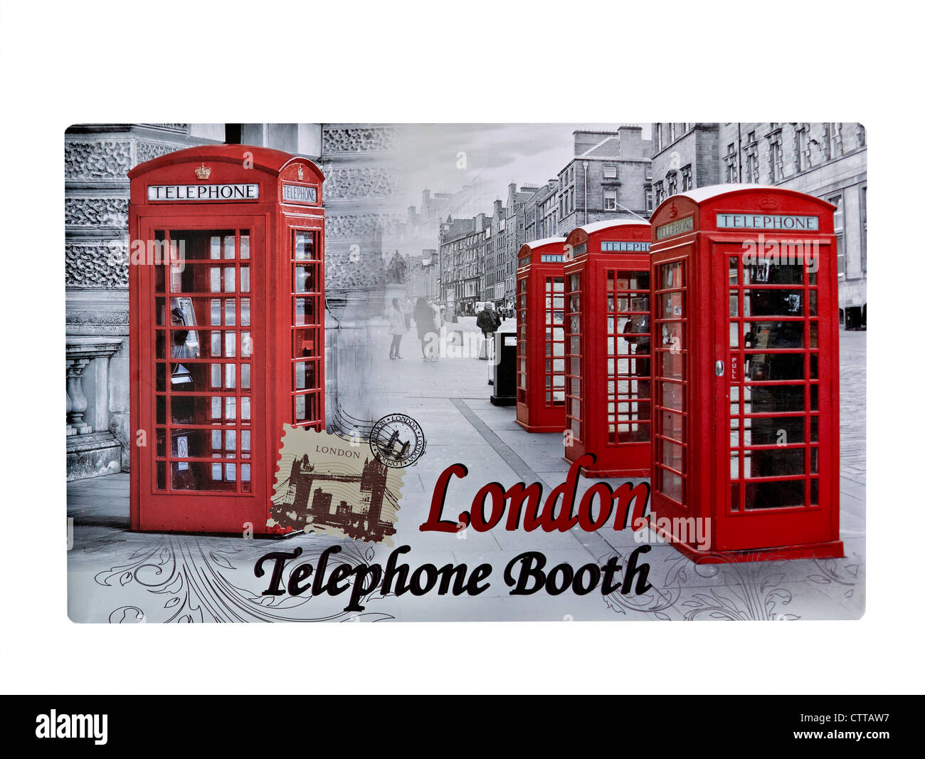 Retro postcard scene of London UK with old style British red phone booths - Stock Image