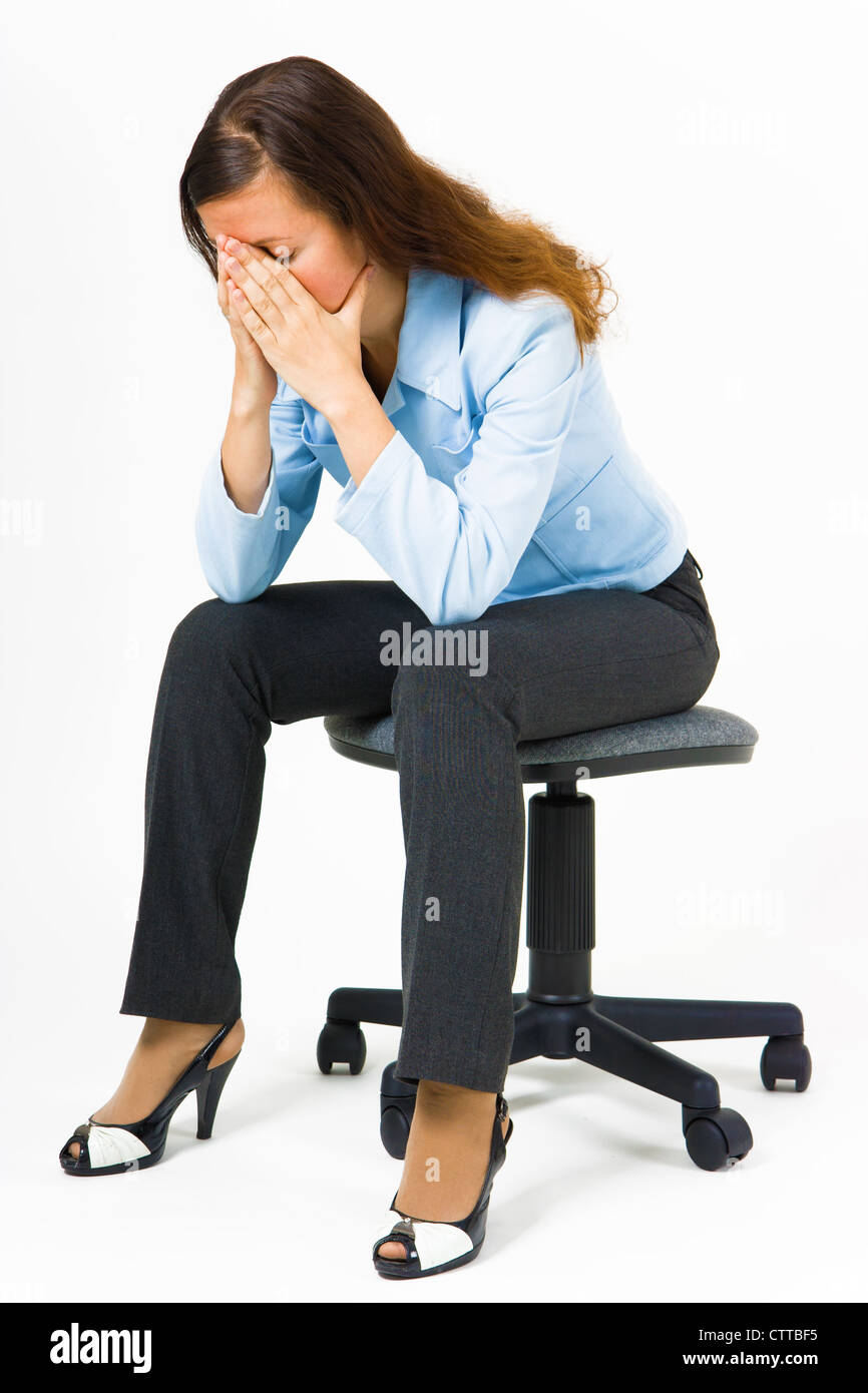Astounding Stress Woman Hides Her Face In Her Hands While Sitting On Interior Design Ideas Lukepblogthenellocom