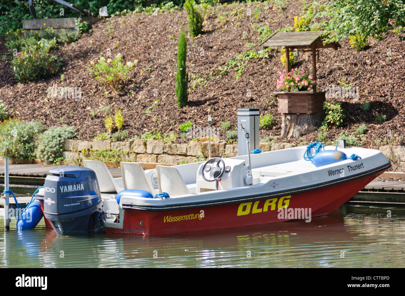 Rescue boat of the DLRG Deutsche Lebens-Rettungs-Gesellschaft e.V. German Lifeguard Association life saving organization - Stock Image