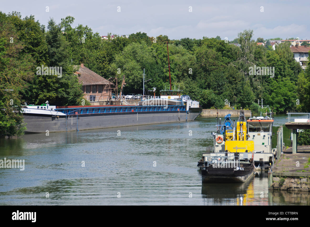 River Barge and other ships mooring in Heilbronn River Neckar Germany Inland Port - Stock Image