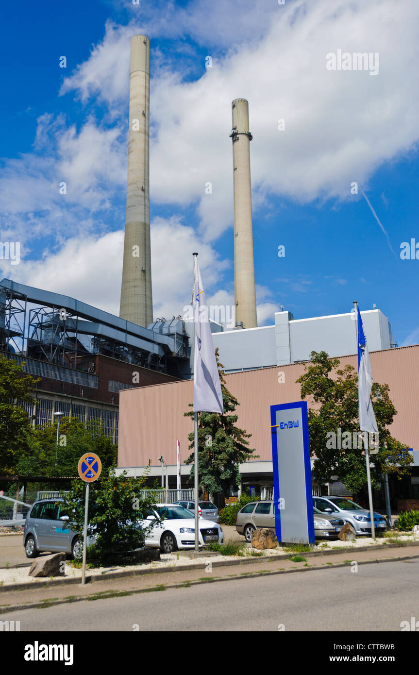 Heilbronn Power Station is a coal-fired power station in Heilbronn, Germany. It is operated by EnBW Kraftwerke AG, - Stock Image