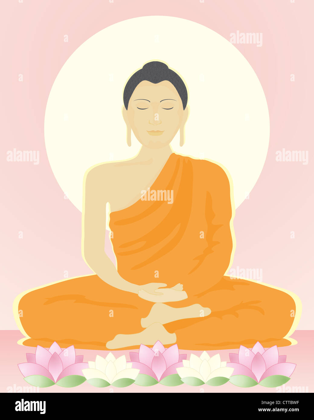 an illustration of an image of the buddha in meditation sitting with lotus flowers under a bright yellow sun in - Stock Image