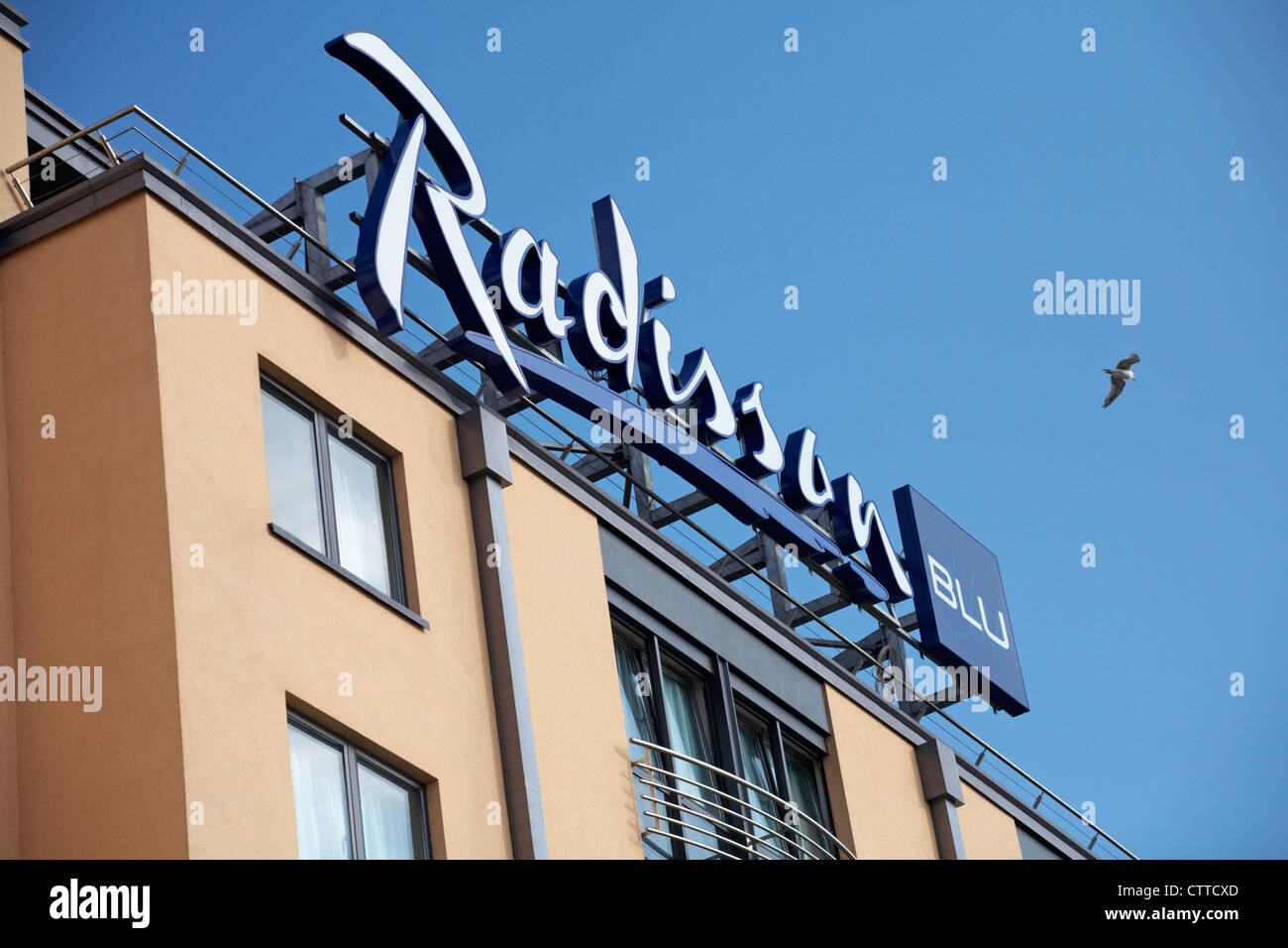 Radisson Blu hotel at St Helier, Jersey in July - Stock Image