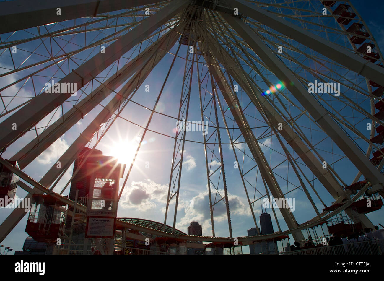 Ferris Wheel Operator Is Silhouetted At The Navy Pier Ferris Wheel In Stock Photo Alamy