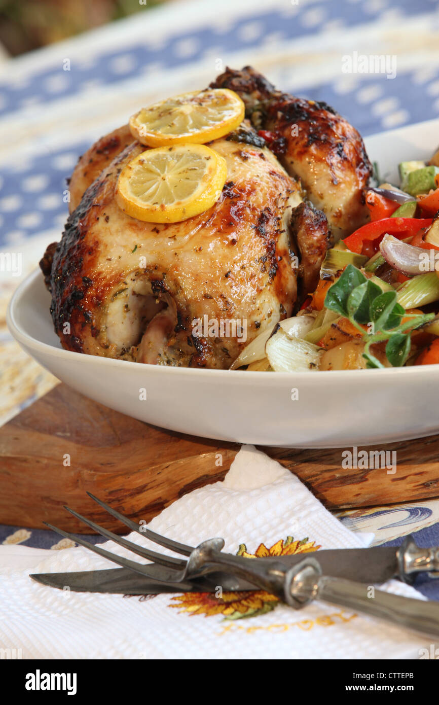 Whole home made roasted chicken - Stock Image