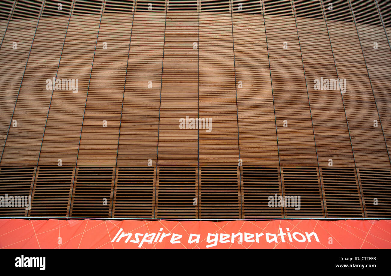 Velodrome in Olympic Park, London (detail) with Inspire A Generation slogan - Stock Image