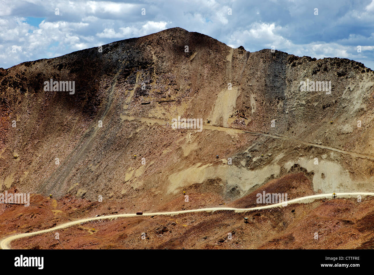 Mountain road View from Mt. Chacaltaya altiplano in distance, Calahuyo near La Paz, Bolivia, Andes, South America, Stock Photo