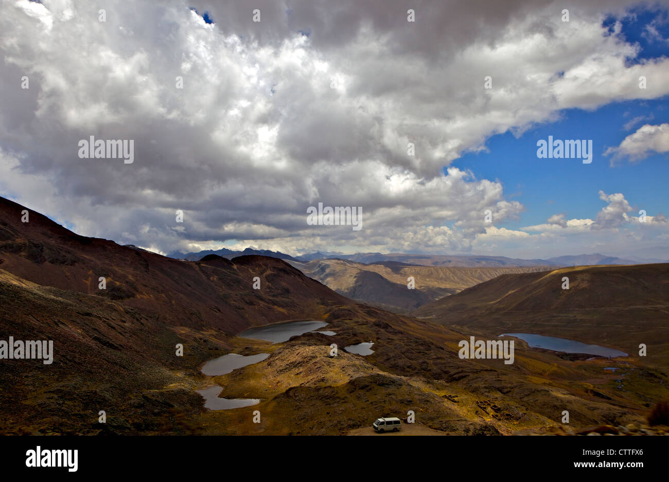 View from Mt. Chacaltaya altiplano in distance, Calahuyo near La Paz, Bolivia, Andes, South America, Stock Photo
