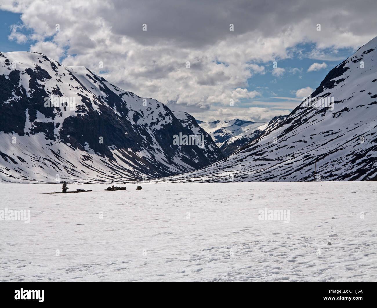 Snowfields above Trollstigen Norway - Stock Image
