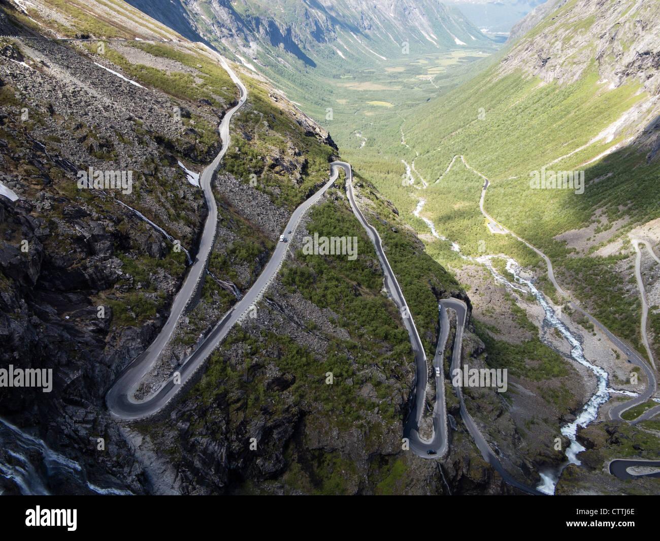 The Trolls Road Trollstigen hairpin bends Romsdal Norway - Stock Image