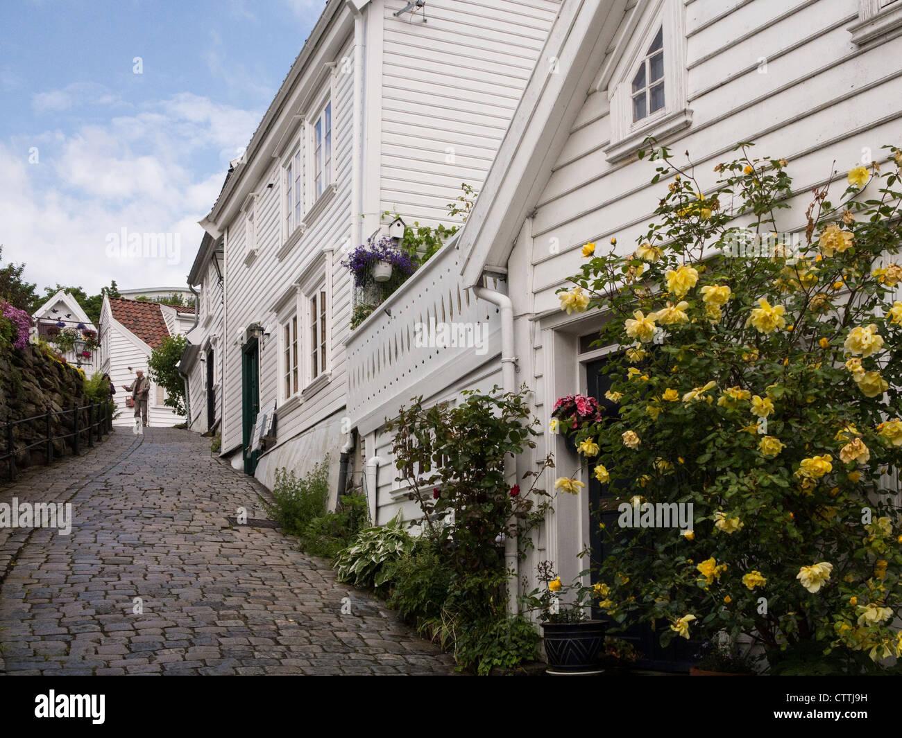 Gamle Stavanger restored 18c. wooden merchant's house Stock Photo
