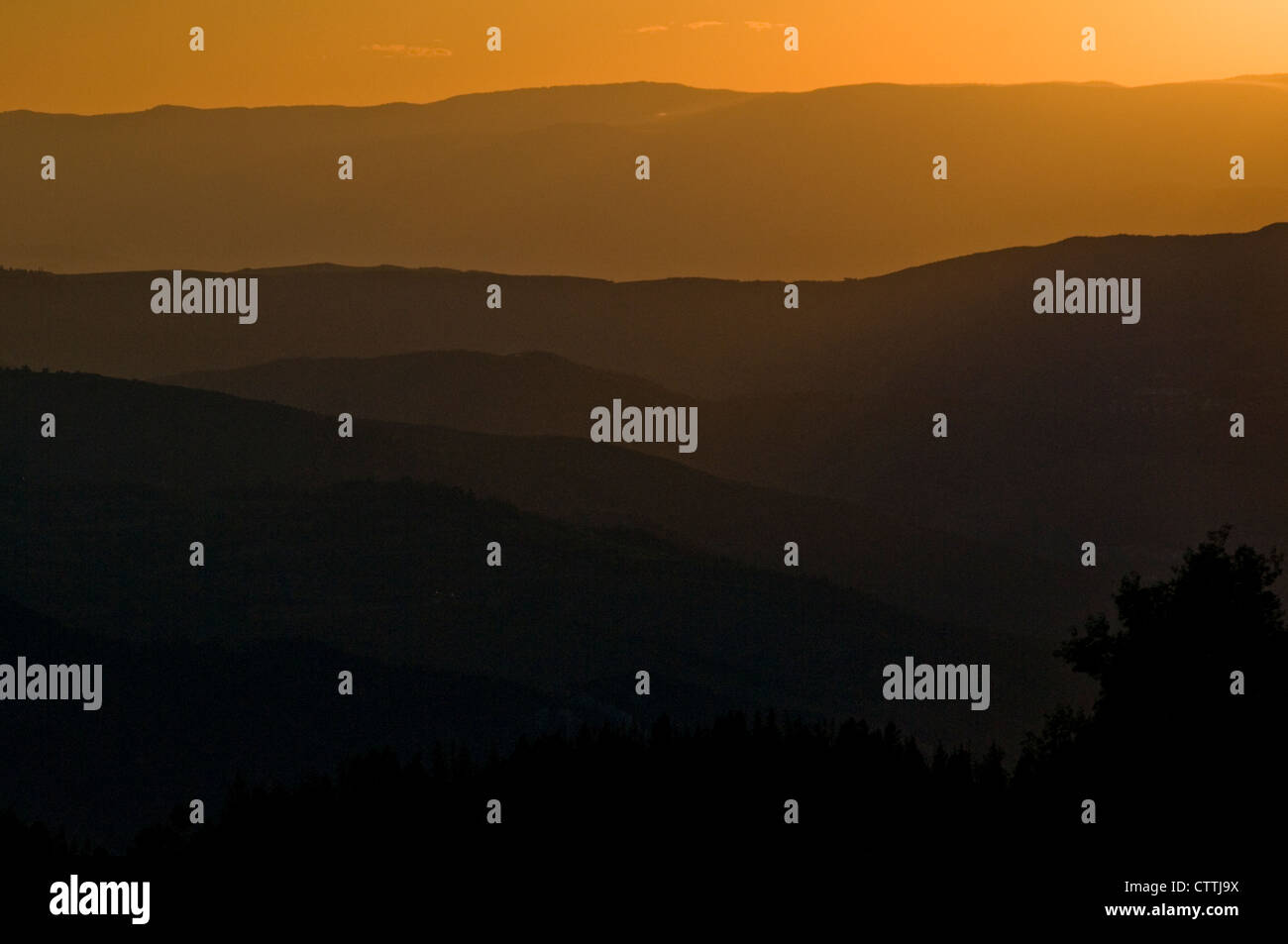 Sunset from the top of Vail Mountain, Vail Colorado, USA, late summer - Stock Image