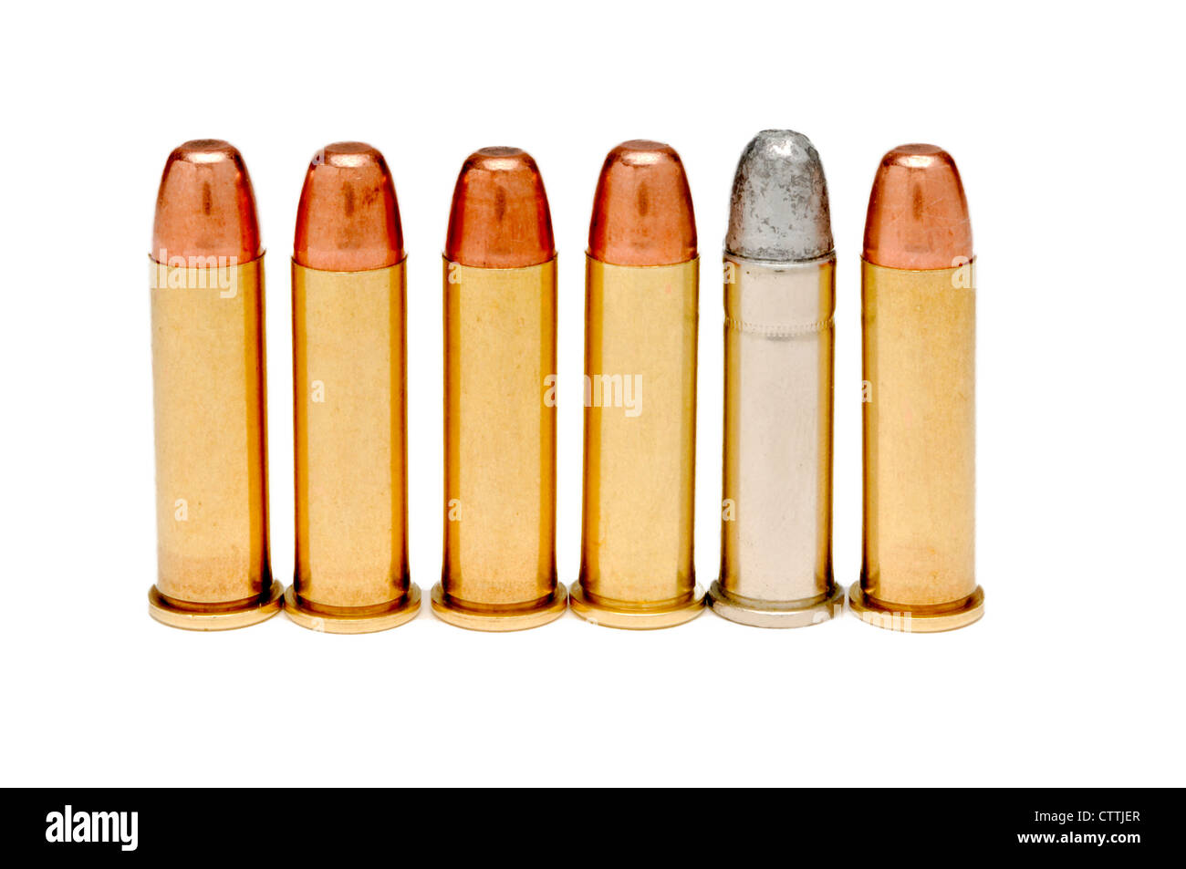 38 caliber bullets on white background - Stock Image
