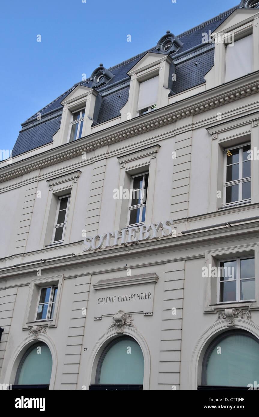 Sothebys gallery Rue du Faubourg Saint Honoré Paris France - Stock Image