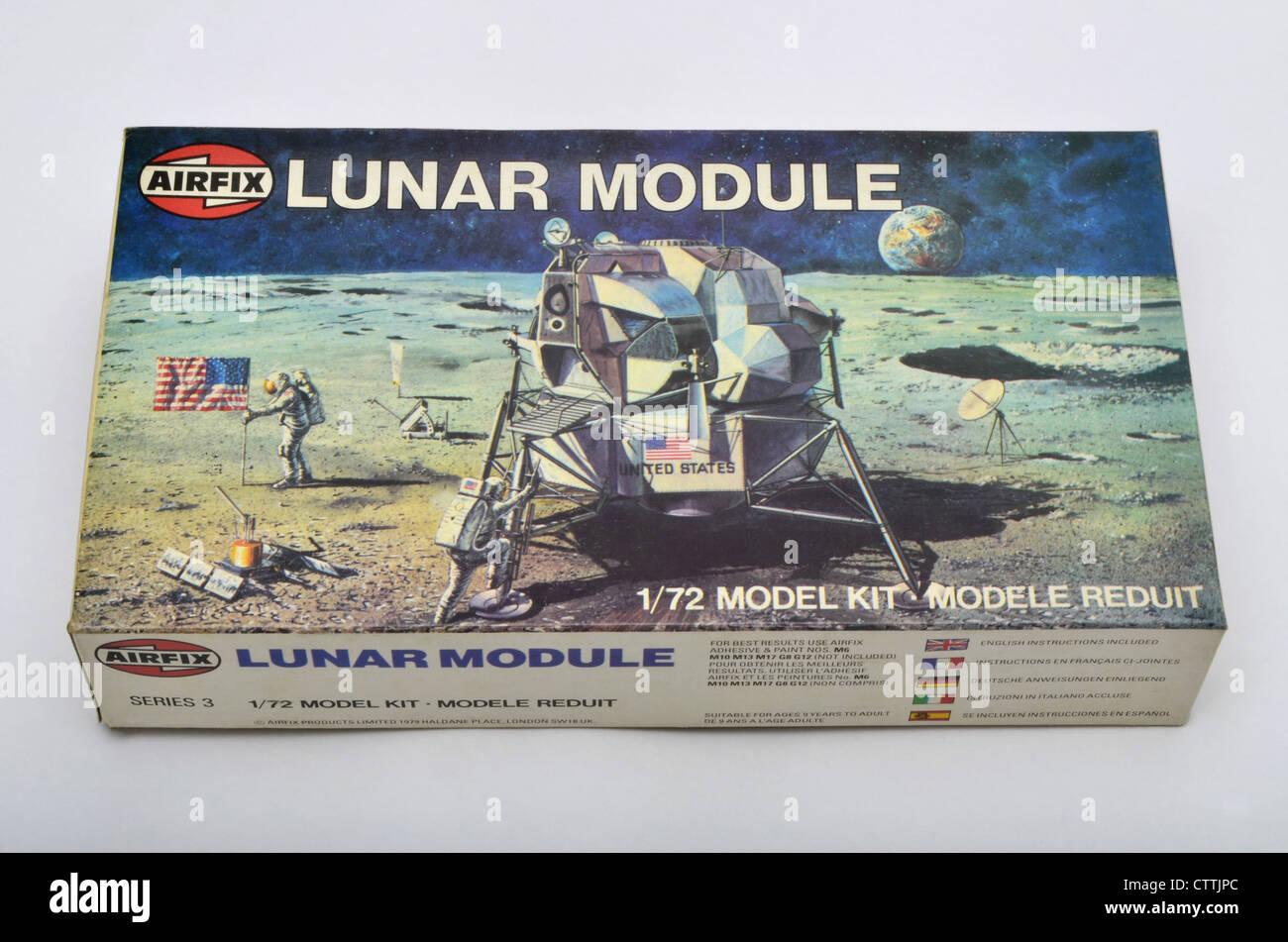 Airfix 1/72 scale Lunar Module construction kit box against a white background - Stock Image