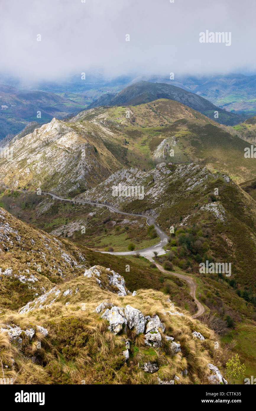 View from Mirador de La Reina at Covadonga, Picos de Europa National Park, Asturias, Northern Spain - Stock Image