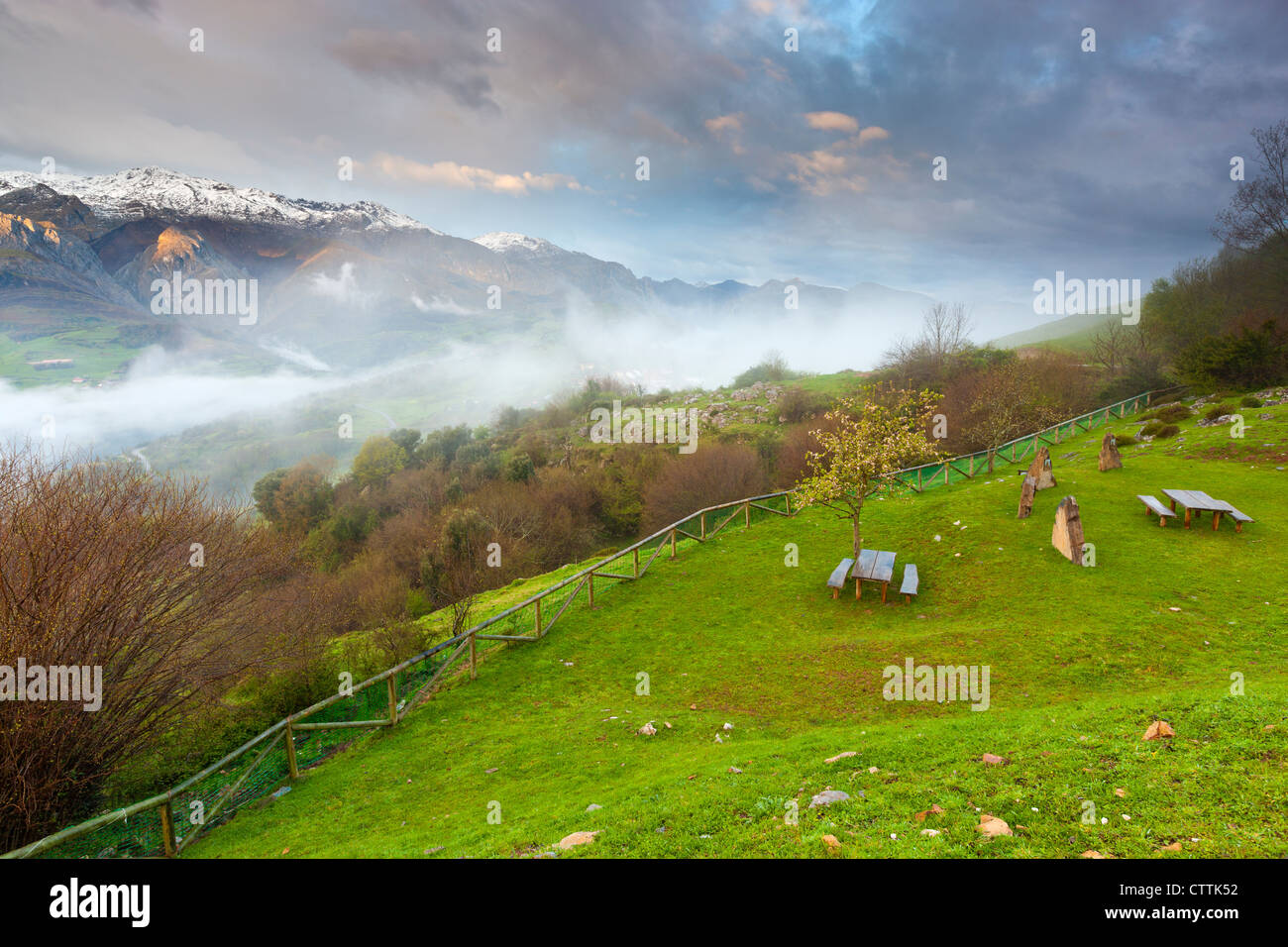 A view on the Picos de Europa National Park from the north, near Mirador Pedro Udaondo, Asturias - Stock Image
