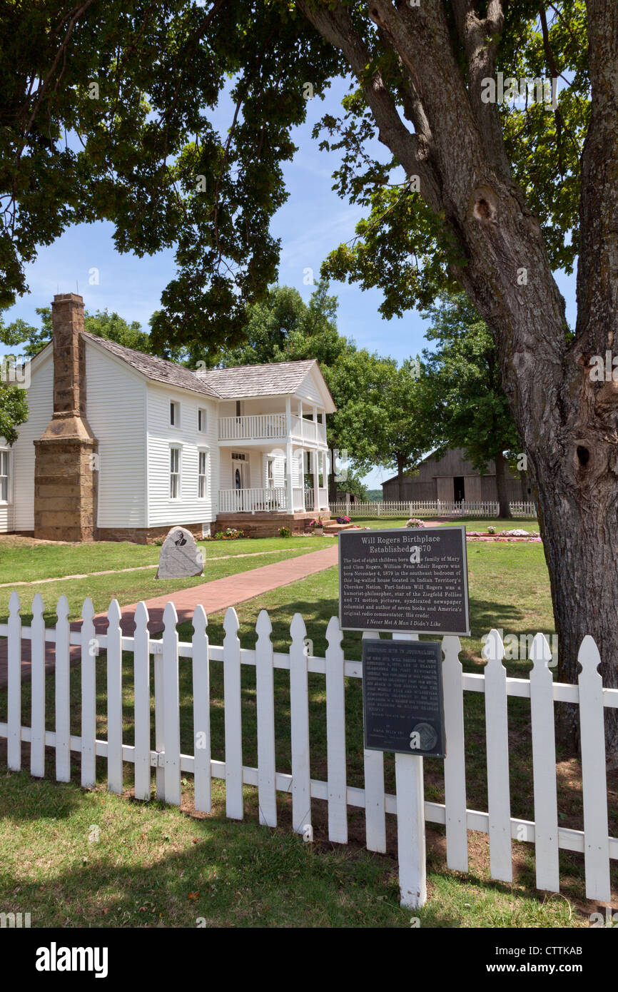 Oologah, Oklahoma: 'White House on the Verdigris River,' the birthplace of American humorist Will Rogers. - Stock Image