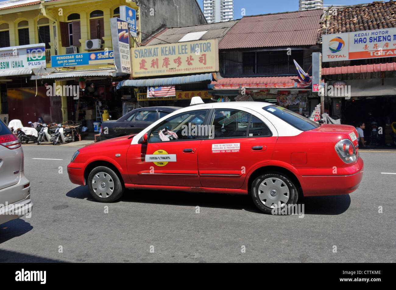 Red Taxi, Georgetown, Penang, Malaysia. - Stock Image
