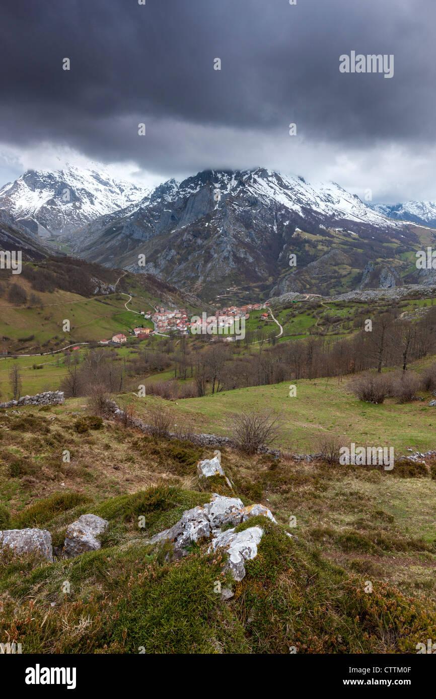 Sotres from Invernales de La Caballa, Picos de Europa, Asturian municipality of Cabrales, Spain - Stock Image