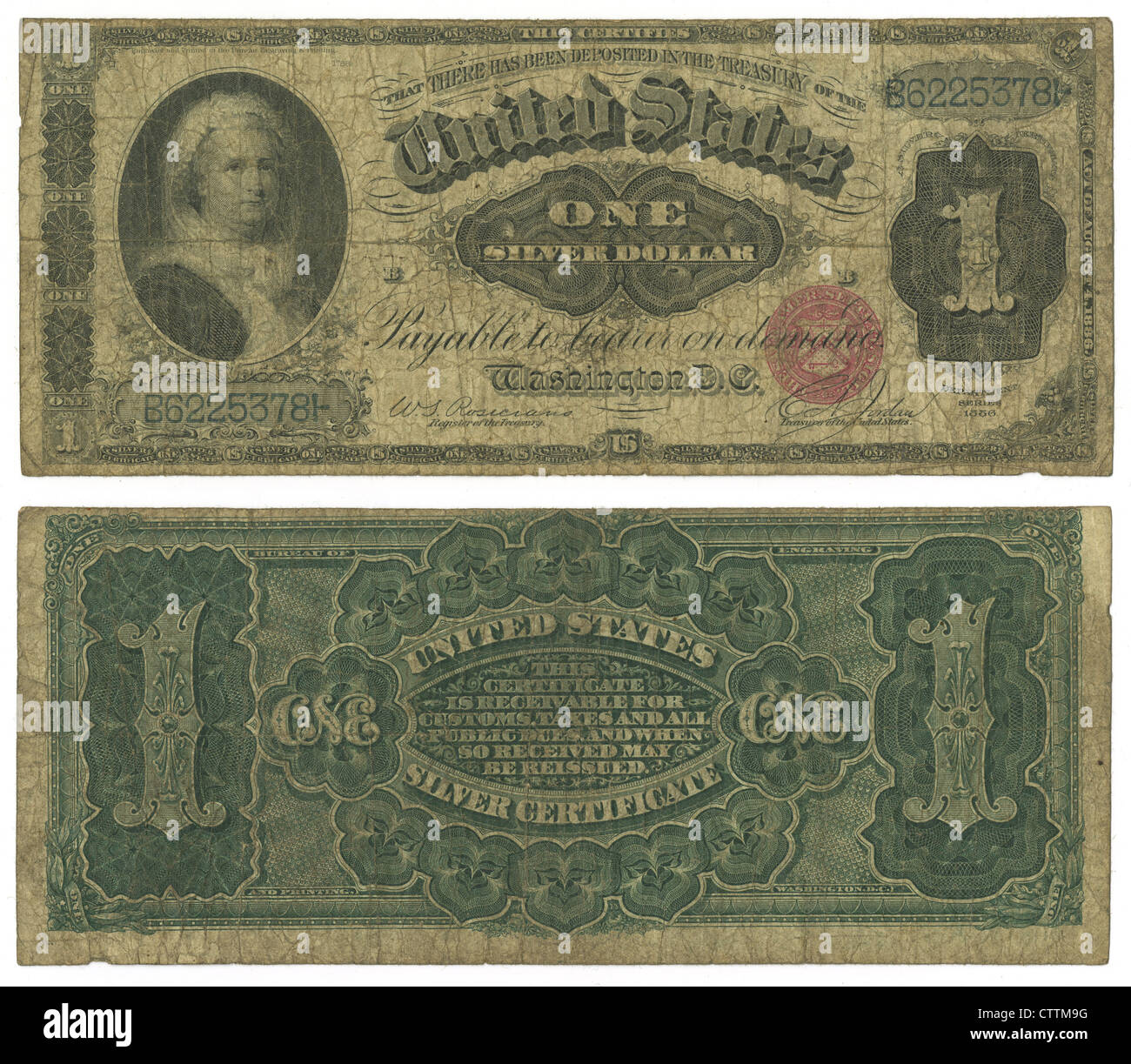 1886 Series One Silver Dollar United States banknote. - Stock Image